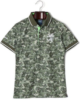Admiral (アドミラル) - Admiral 迷彩リーフ柄 切替 ランパント 半袖ポロシャツ カーキ m