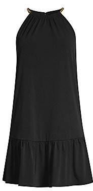 MICHAEL Michael Kors Women's Solid Chain Halter Dress
