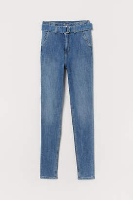 H&M Denim trousers with a belt
