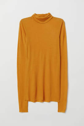 H&M Cashmere-blend Turtleneck - Yellow