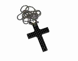 Bastion Pure Carbon Fiber Men's Dog Tag Pendant with Chain - Cross