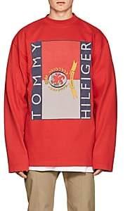 Vetements Men's Logo Cotton Oversized Long-Sleeve T-Shirt - Red