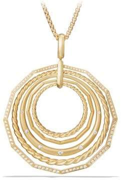 David Yurman Stax Long Pendant Necklace With Diamonds In 18K Gold,