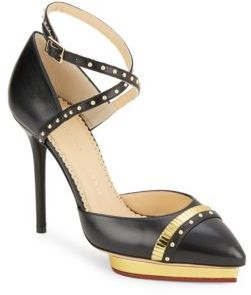 Ivana Ankle-Strap Leather Pumps