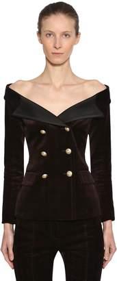 Faith Connexion Off-The-Shoulder Velvet Jacket