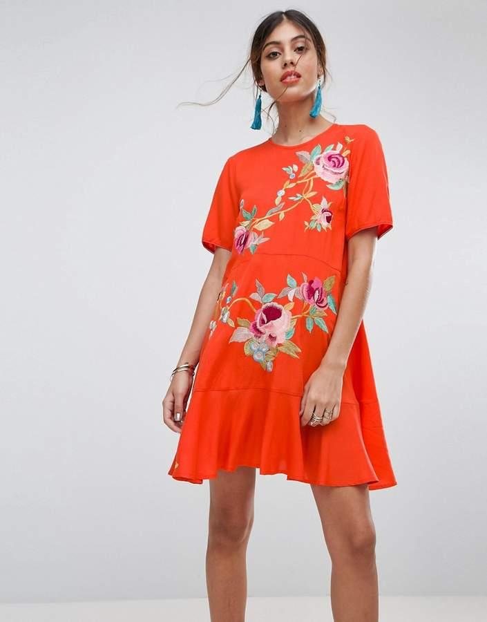 ASOS Embroidered Drop Waist mini dress