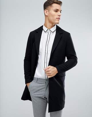 Blend of America Process Black Wool Overcoat