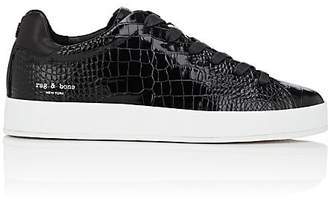 Rag & Bone WOMEN'S RB1 CROCODILE-STAMPED POLISHED LEATHER SNEAKERS