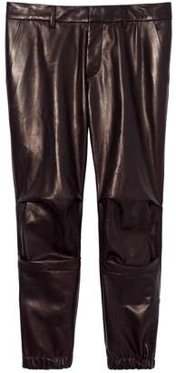 Nili Lotan Cropped French Military Lambskin Pant in Brown