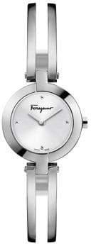 Salvatore Ferragamo Miniature Stainless Steel Half Bangle Bracelet Watch