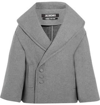 Jacquemus - Le Caban Oversized Wool-blend Coat - Light gray $1,125 thestylecure.com