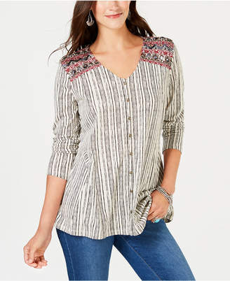 Style&Co. Style & Co V-Neck Button Front Embroidered Top, Created for Macy's