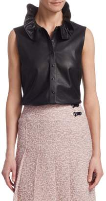Akris Punto Perforated Leather Sleeveless Blouse