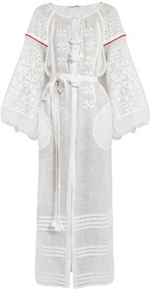VITA KIN Butterfly embroidered linen dress