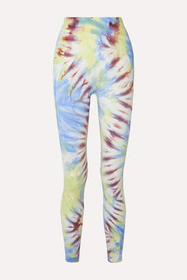 Tory Sport Tie-dyed Stretch-jersey Leggings - Light blue