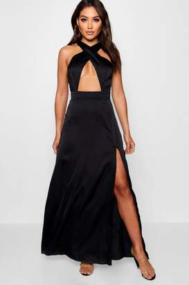 boohoo Jen Satin Cross Front Thigh Split Maxi Dress