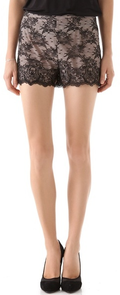 Red valentino Argyle Chantilly Lace Shorts