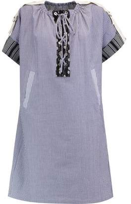 J.W.Anderson Lace-Up Striped Cotton Mini Dress