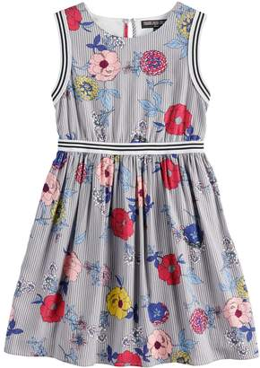 Girls 7-16 Three Pink Hearts Sleeveless Floral Varsity Dress