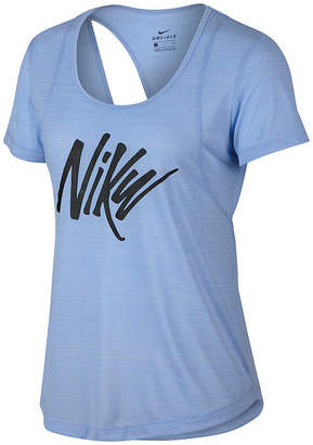 Nike Open Back Graphic Ss Tee-Womens Crew Neck Short Sleeve T-Shirt