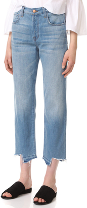 J Brand Ivy High Rise Crop Straight Jeans with Jagged Hem $228 thestylecure.com