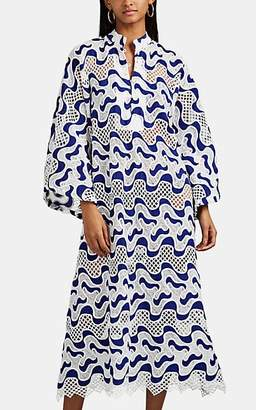 La Vie Style House Women's Mixed-Lace Maxi Caftan - Blue, Blk, Wht