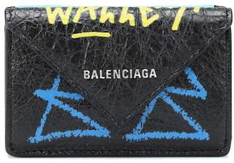 Balenciaga Paper Mini Graffiti leather wallet
