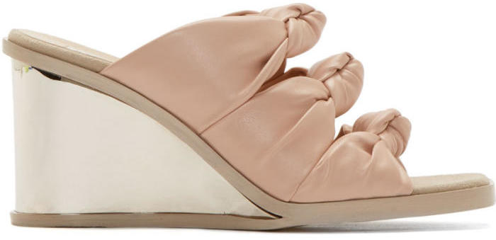 Stella McCartney Pink Knotted Wedge Sandals