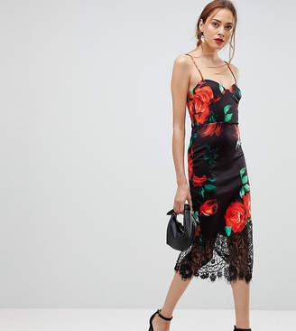 Asos Tall TALL Rose Print Lace Hem Cami Midi Bodycon Dress