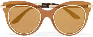 Cat-eye Acetate And Gold-tone Mirrored Sunglasses - Bronze