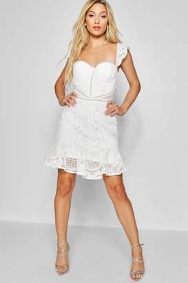 boohoo Lace Panelled Ruffle Hem Mini Dress