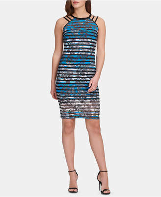 GUESS Printed Striped Bodycon Dress