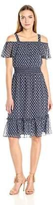 Tommy Hilfiger Women's Spring Garden Print Chiffon Dress