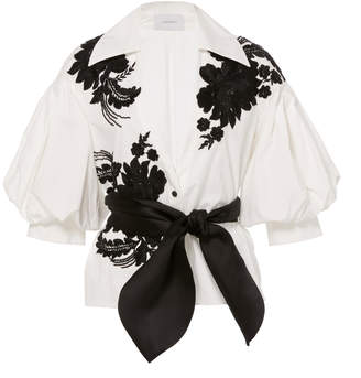 Marchesa Floral Applique Embellished Cotton Blouse