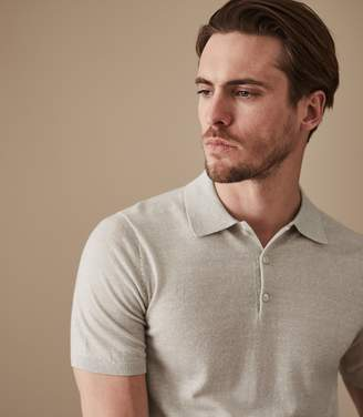 Reiss ORDER BY MIDNIGHT DEC 15TH FOR CHRISTMAS DELIVERY GREIGSON SHORT SLEEVED POLO Oatmeal