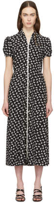 ALEXACHUNG Black and White Puff Sleeve Zip Dress