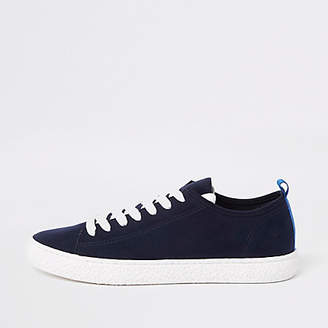 River Island Navy textured sole lace up sneaker
