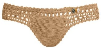 She Made Me Essential Mini Hipster Crochet Bikini Briefs - Womens - Tan