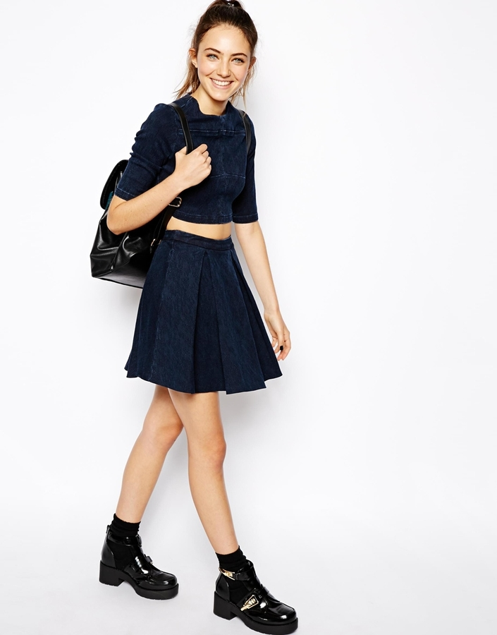 ASOS Denim Premium Jacquard Box Pleat Skirt in Indigo