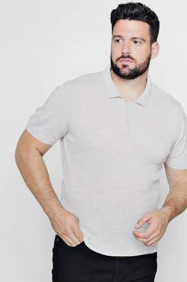 boohoo Big And Tall Short Sleeve Knitted Polo