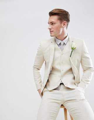 Asos Wedding Super Skinny Suit Jacket In Stone Linen