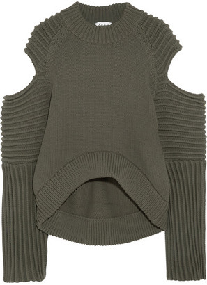 DKNY - Cold-shoulder Ribbed-knit Sweater - Army green $715 thestylecure.com