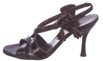 Salvatore Ferragamo Embossed Slingback Sandals