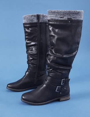 Lane Bryant Riding Boot with Buckles & Sweater Cuff