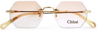 Chloé Octagon-frame Gold-tone Sunglasses