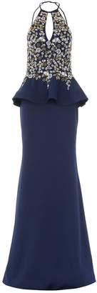 Jovani Halterneck Embellished Peplum Gown