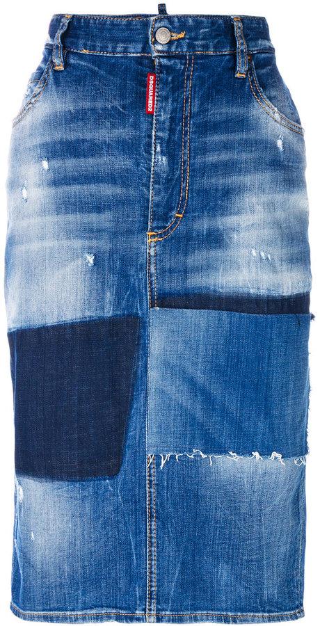 DSQUARED2 distressed denim midi skirt