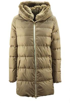 Duvetica Carys Beige Shiny Nylon Down Jacket.