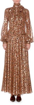 Giambattista Valli High-Neck Blouson-Sleeve Lame Leopard Devore Long Gown