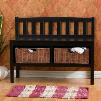Beachcrest Home Offerman Wood Storage Bench with Rattan Baskets